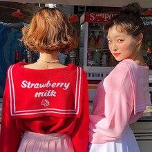 Японский стиль Kawaii свитер женский Осень Зима матросский воротник буквы клубника узор жаккардовый вязаный свитер розовый красный