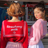 Japanese Style Kawaii Sweater Women Autumn Winter Sailor Collar Letters Strawberry Pattern Jacquard Knitted Sweater Pink Red