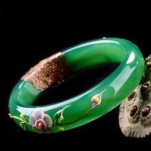 Натуральные зеленые браслеты с цветным рисунком павлина и цветка браслеты подарок для женщин ювелирные изделия нефрита