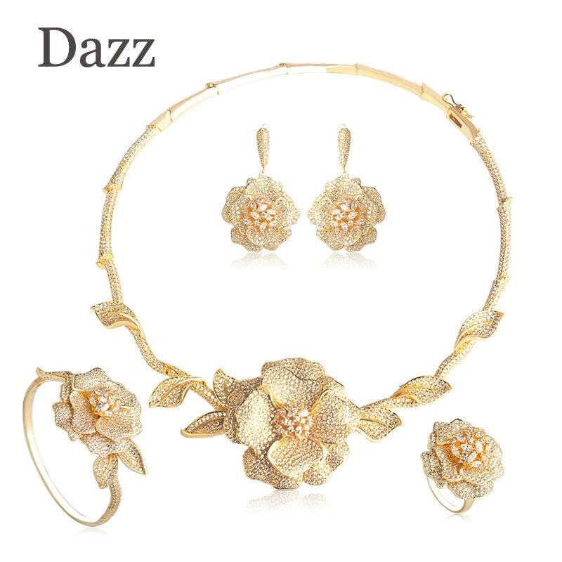 Dazz Luxury Women Wedding Bridal Jewelry Sets Gold Color Big Pendant Flower Choker Necklace Bangle Earring