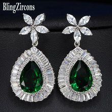 BlingZircons Luxury Big Teardrop Green Cubic Zirconia Crystal Costume  Earrings For Women Dinner Party Dress Accessories E022 90b9b27a44c5