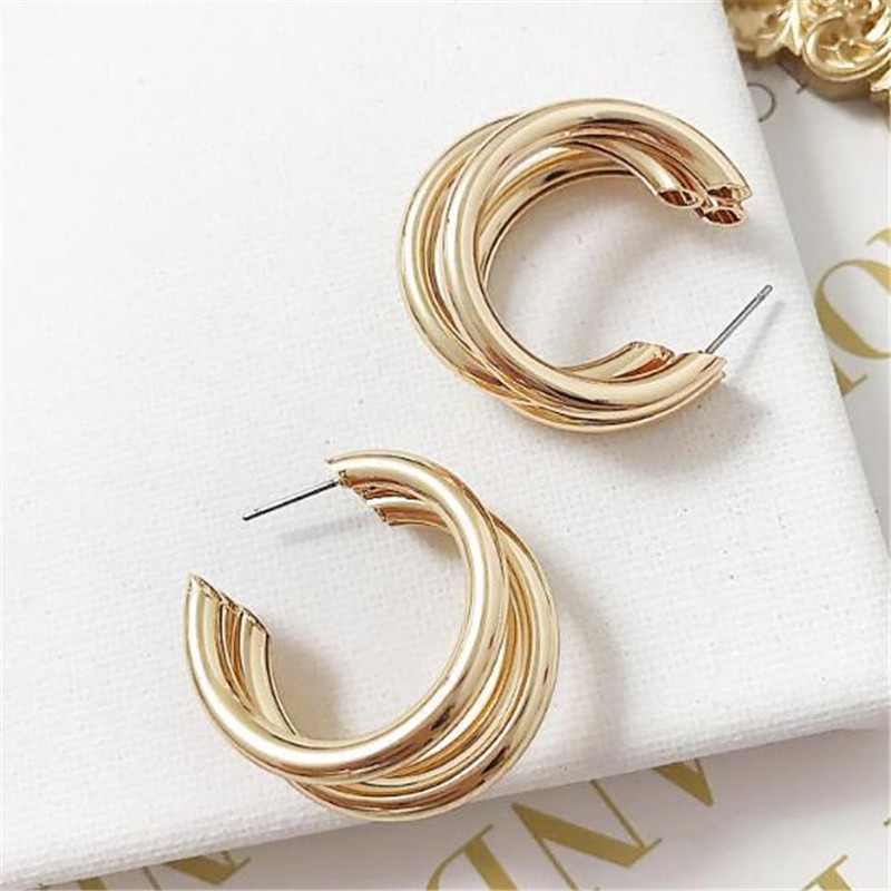 2018 Gold Silver Hoops Earrings Minimalist Thick Tube Round Circle Rings Earrings For Women Zinc Alloy Trendy Hiphop Rock