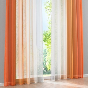Image 2 - 2 Panel Finished Curtain Orange Gradient Tulle Curtain For Living Room Bedroom Kitchen Short Curtain Coffee Curtain D002#42 Pane