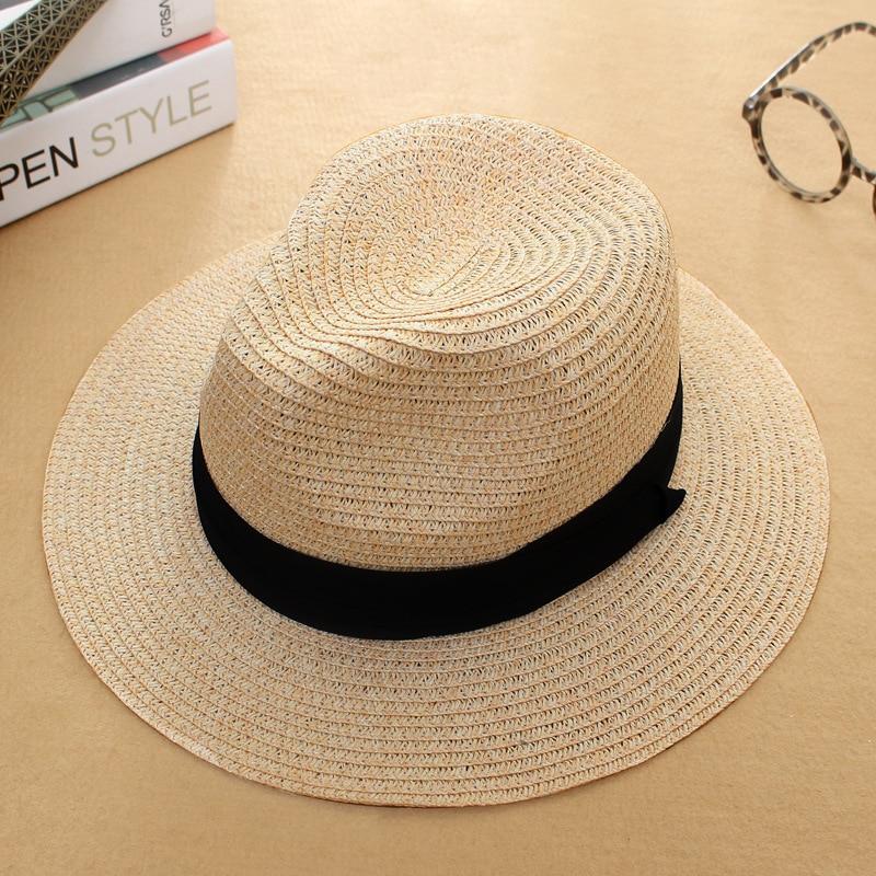 b667f6356cfa69 sun caps Ribbon Round Flat Top Straw Fedora Panama Hat summer hats for women  straw hat snapback gorras