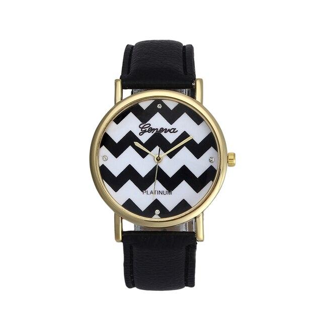 Montres Femme Women Watches Geneva Watch Faux Leather Quartz Analog Wrist Watch