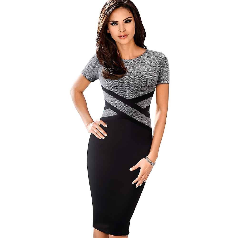 Lady Patchwork Contrast Autumn Casual Business Office Dress Work Elegant Three Quarter and short Sleeve Bodycon Dress EB463 27