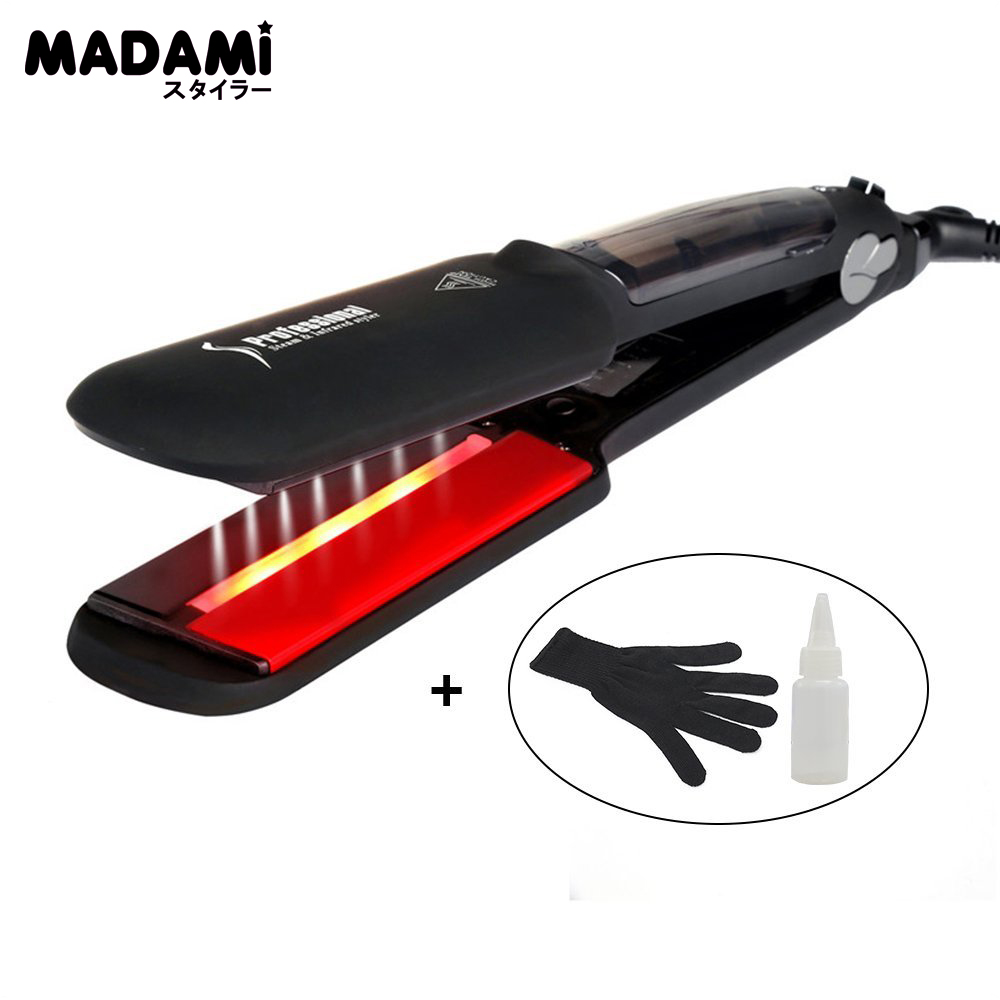 Madami Professional Steam Infrared Hair Iron With 2 Inch Wide Ceramic Tourmaline Plates Help Recover Damged Hair Flat IronMadami Professional Steam Infrared Hair Iron With 2 Inch Wide Ceramic Tourmaline Plates Help Recover Damged Hair Flat Iron