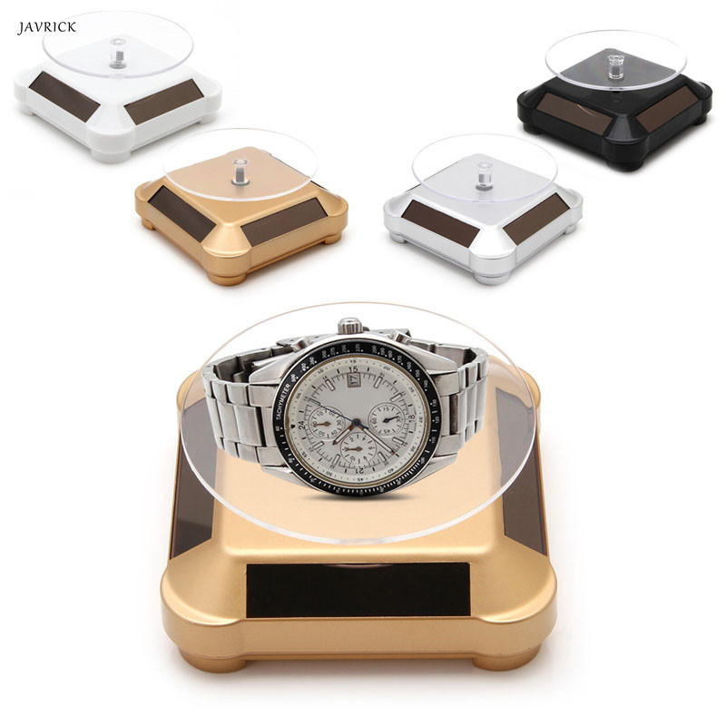 Solar Power Double-Use 360 Rotating Display Stand Table For Phone Watch Jewelry NEW
