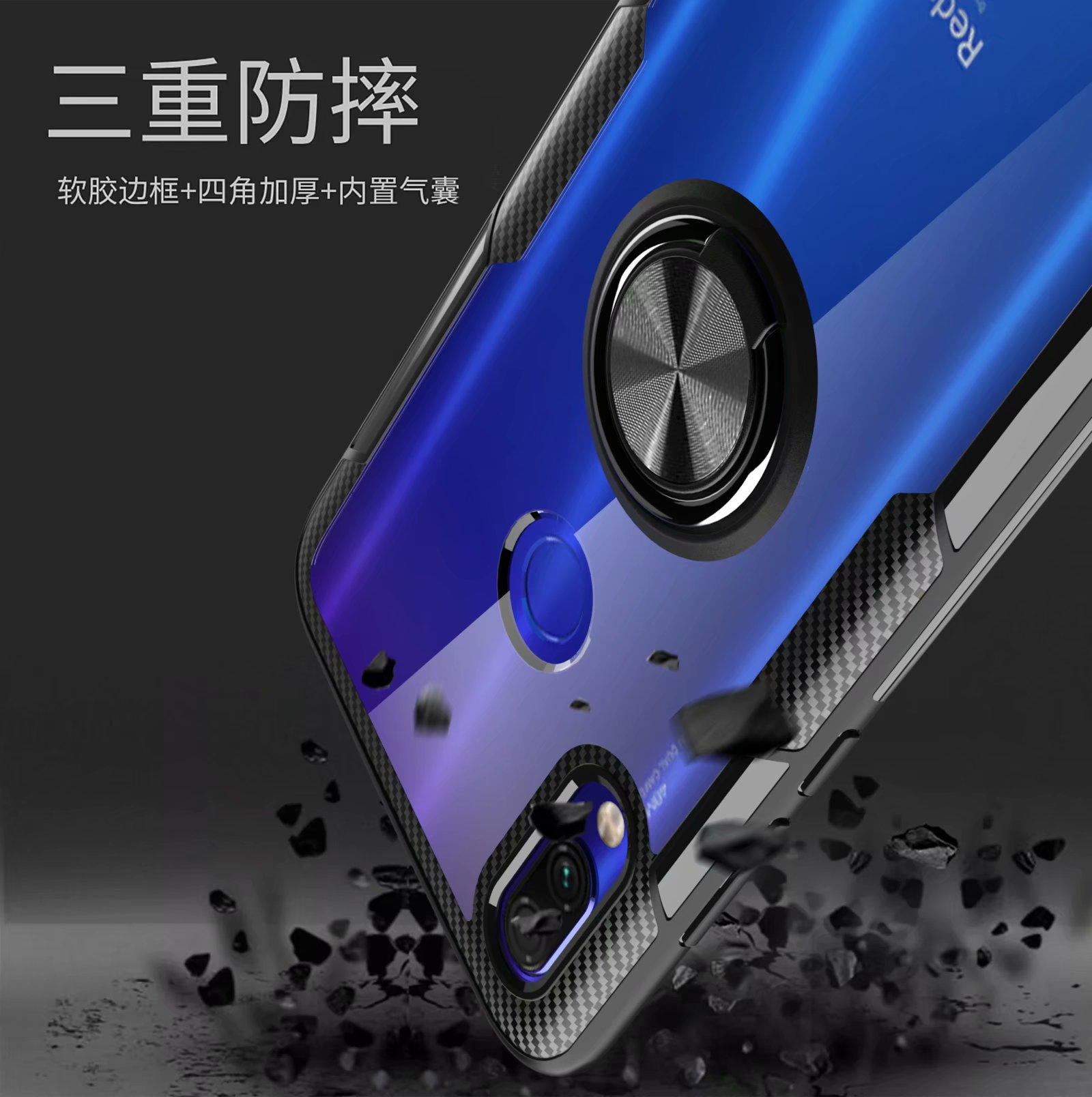 HTB1 AGvUSzqK1RjSZFHq6z3CpXaY For Xiaomi Redmi Note 7 Pro Case With Ring Stand Magnet Transparent shockproof Protective Back Cover case for xiaomi redmi 7