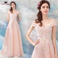 A-line de La Manga casquillo cordón moldeado flores lujo Formal largo vestidos de noche 2018 nuevo diseño fiesta vestido de noche WS89