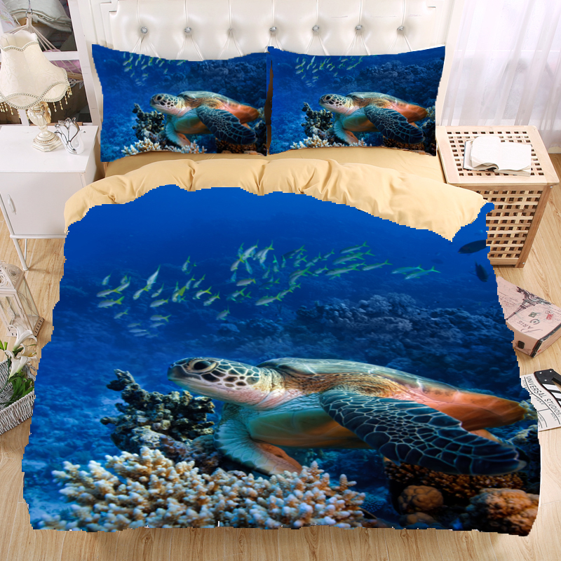 Sea Turtle 3d Bedding Set Print Duvet Cover Set Twin Queen