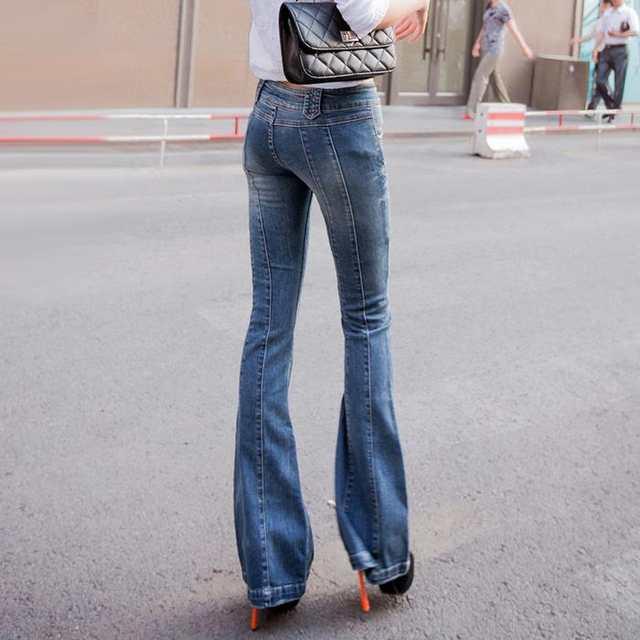 da3ce6044a8 placeholder Super! Vintage Low rise Women Skinny Jeans wide leg womens  flare jeans femme stretch calsa