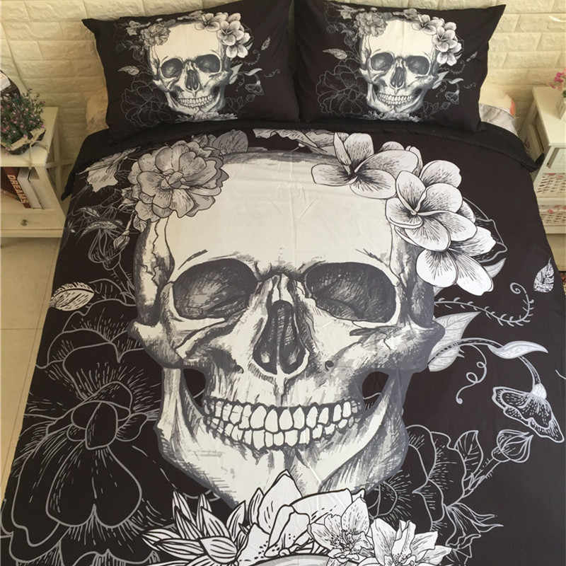3D Skull Bedding set Black and White Duvet Covers for King/Queen Size Bed Europe Style Sugar Skull Bed Set Sheet Duvet Cover