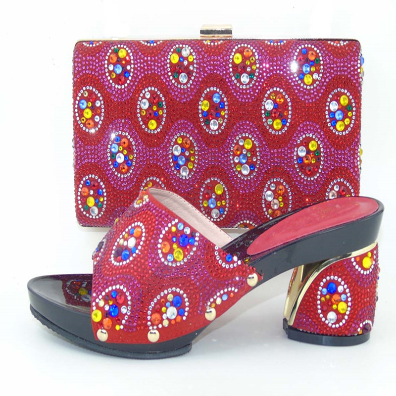 ФОТО Italy Design Fashion Rhinestones Shoes And Bag Set For Evening Party Africa Women High Heels Shoes And Bag Set 5 Colors TH16-60