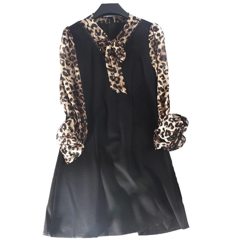 longueur Mode Appliques Black Col Leopard Robes Samgpilee Casual Arc Naturel ligne Nouveau Plein L Hiver 2018 3xl Femmes A Manches Genou x7wzCFPRnq