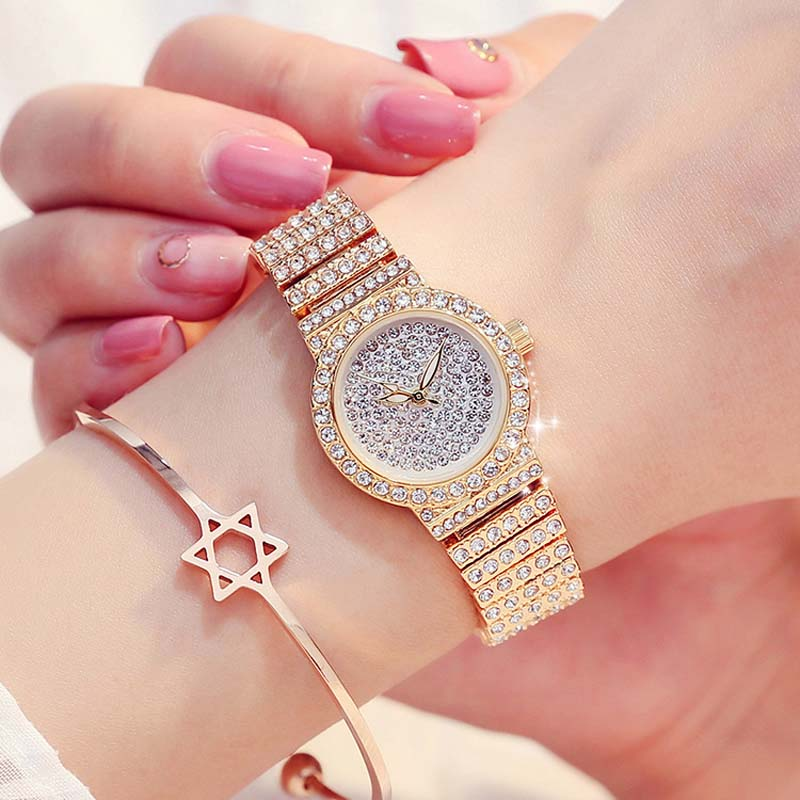 Luxury Brand Quartz Watch Women Watches Luxury 18K Gold Watch Fashion Calender Lady Diamond Watch Female Quartz Wristwatch Hour