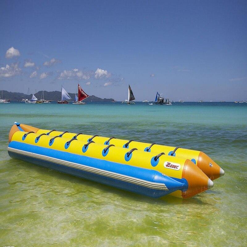 Надувная лодка банан 8 человек играя на пляже surf езда воды игра игрушки летом необходимо аквапарк
