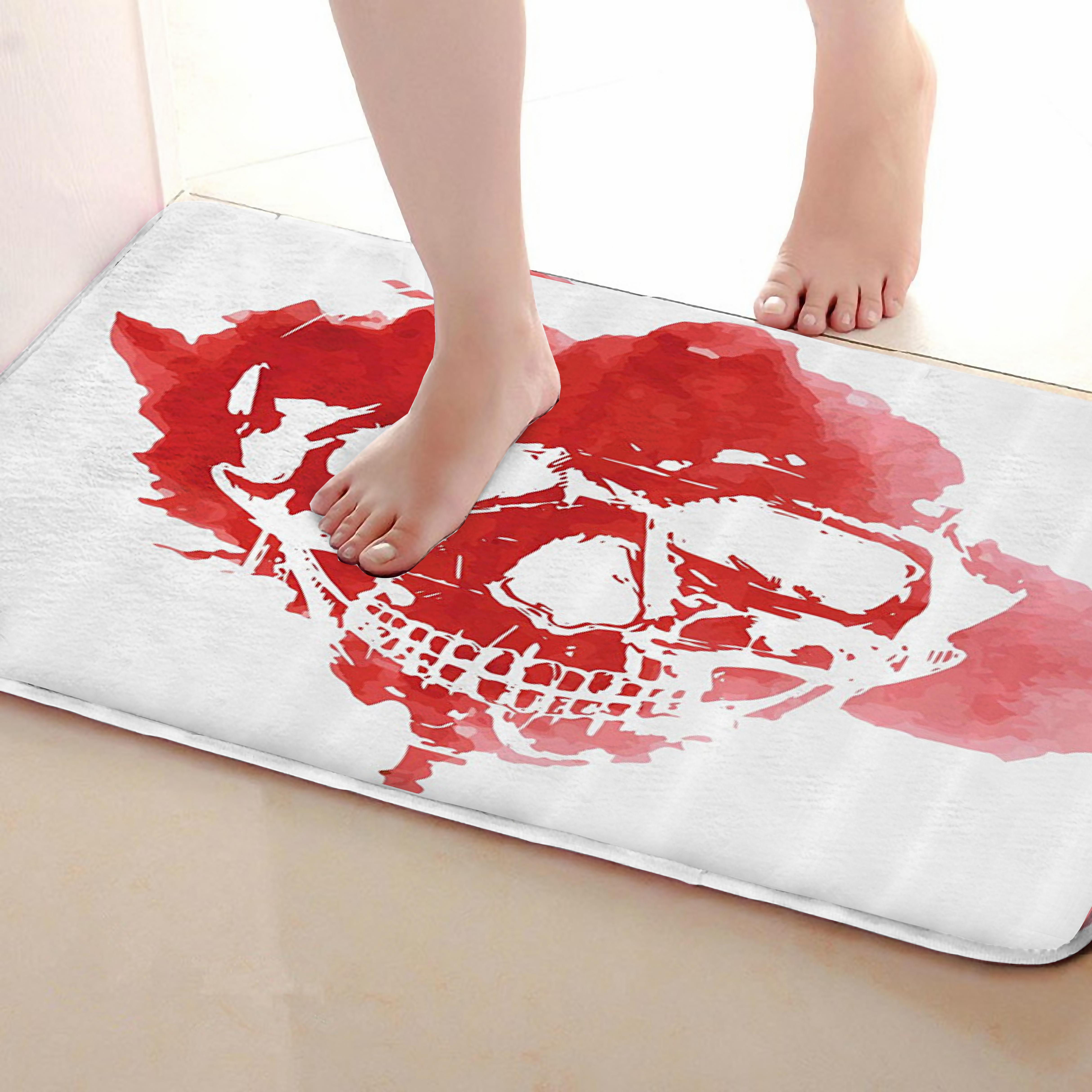 Skull Style Bathroom Mat,Funny Anti Skid Bath Mat,Shower Curtains Accessories,Matching Your Shower Curtain