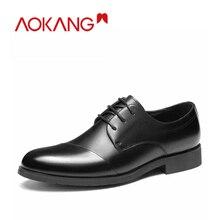 AOKANG 2019 genuien scarpe di cuoio gli uomini di buon confort pattino di vestito Degli Uomini di vestito Scarpe di cuoio genuino di affari di modo di lace up scarpe uomo
