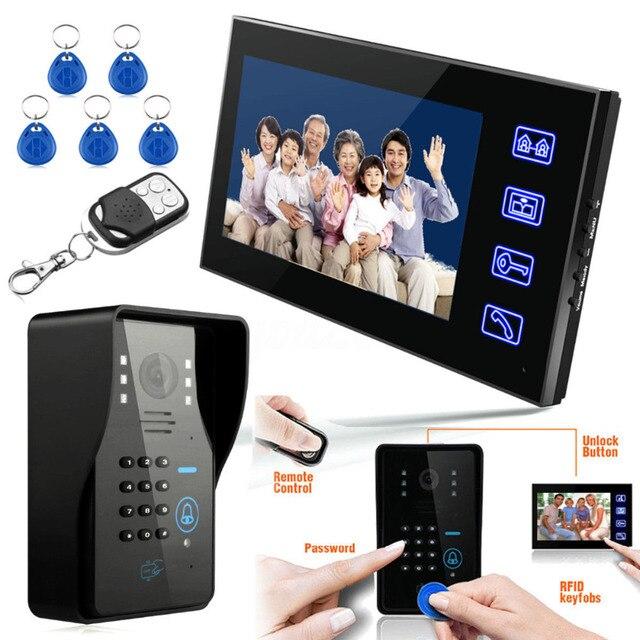 """タッチキー7 """"lcd rfidパスワードビデオドア電話インターホンシステムwth irカメラ1000 tvラインリモートアクセス制御システム"""