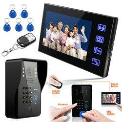 Chave de toque 7 lcd rfid senha vídeo porteiro telefone da porta sistema wth ir câmera 1000 tv linha sistema controle acesso remoto