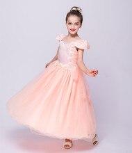 Новые продукты, перечисленные длинное платье лепестки, белое свадебное и вечернее платье дети 3-12 высокого класса марки детей платье