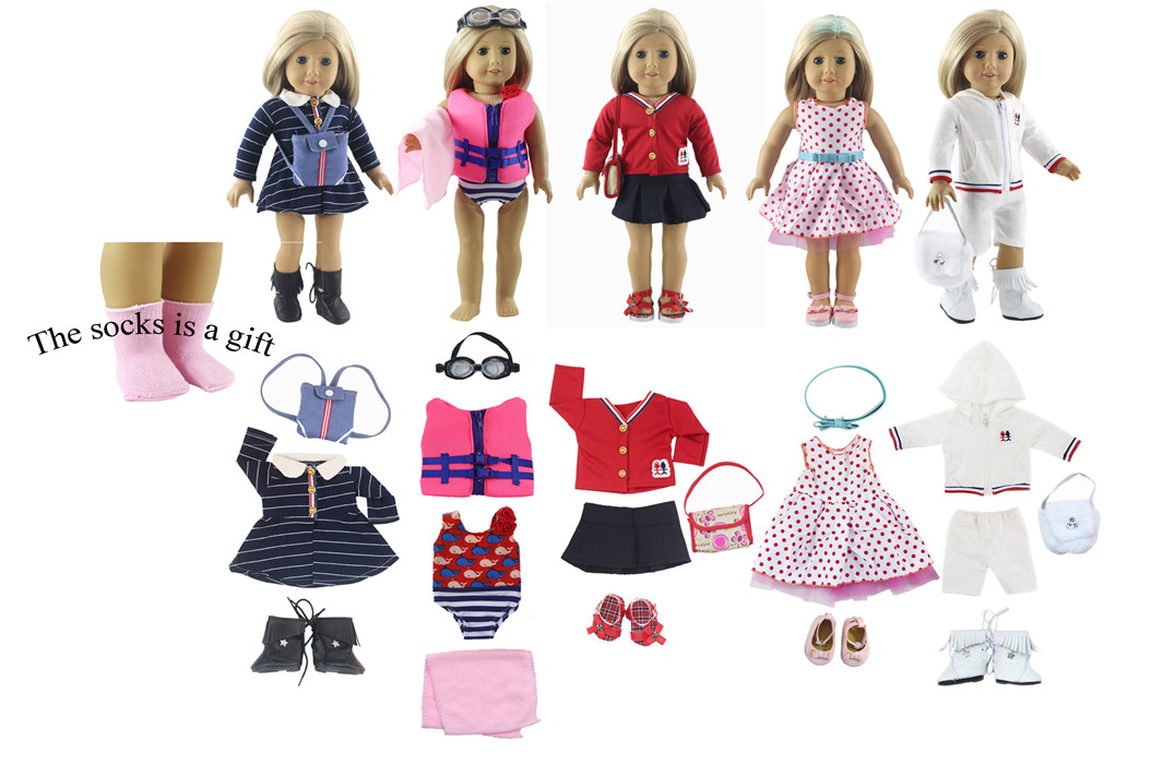 5 Set Doll Clothes for 18 Inch American Girl Doll Handmade Casual Wear Outfit Kids of Gift pink wool coat doll clothes with belt for 18 american girl doll