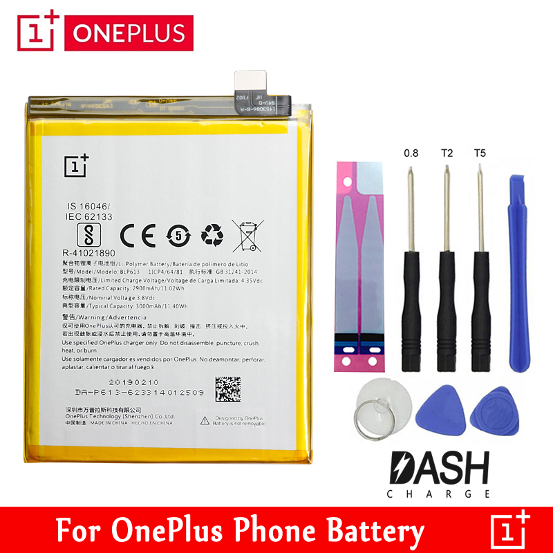 ONE PLUS <font><b>Original</b></font> Replacement <font><b>Battery</b></font> BLP571 BLP597 BLP613 BLP633 BLP637 For <font><b>OnePlus</b></font> 5 5T <font><b>3</b></font> 3T 2 1 1+ Retail Package Free Tools image