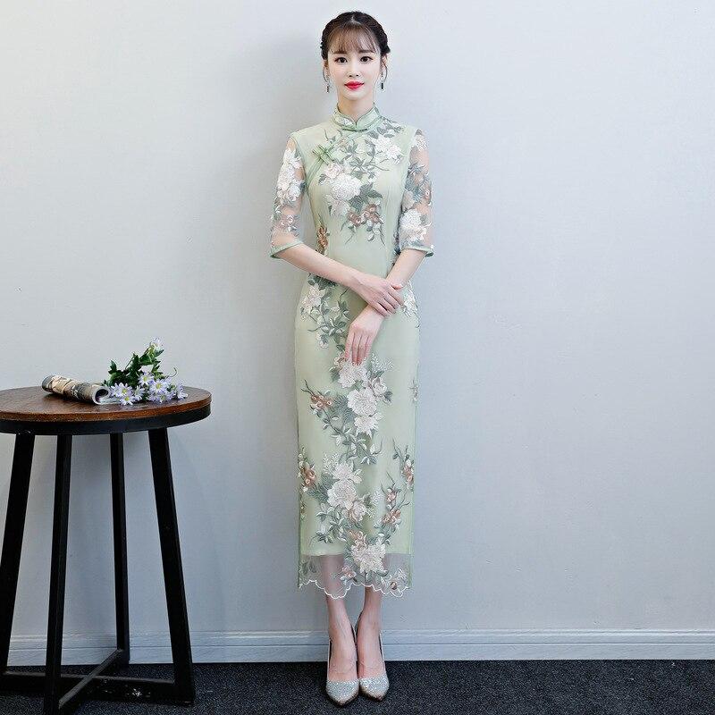 Women Lace Sexy Chinese Style Evening Dress New Novelty Plus Size 3XL Long Cheongsam Elegant Female