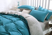 pure color bedding set, King queen size bed line/bedclothes+colourful 4 colors bedding(China)