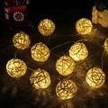 Luzes LED String 2 M 20 LEDs LED Luzes Cordas de Fadas Branco Quente Bola Rattan String Para Festival Festa de Natal