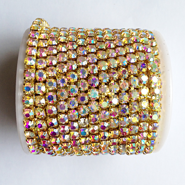 10 yards roll gold base crystal ab SS6 to SS18 intensive gold base new style diy