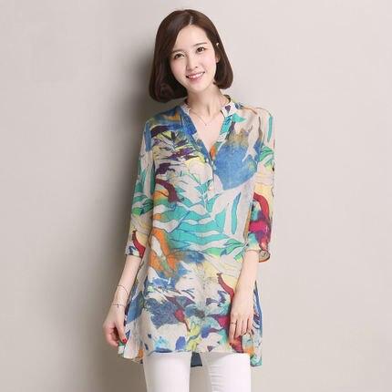 2015 été femmes en mousseline de soie chemise de grande taille col montant bouton fleur imprimé en mousseline de soie Blouse et chemise dame mode demi manches blouse