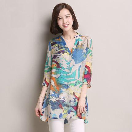 2015summer Women chiffon shirt plus size Stand Collar Button flower Print chiffon Blouse Shirt lady fashion