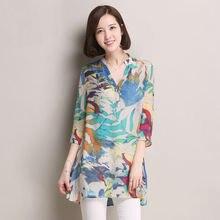 2015summer Women chiffon shirt plus size Stand Collar Button flower Print chiffon Blouse&Shirt lady fashion half Sleeve blouse