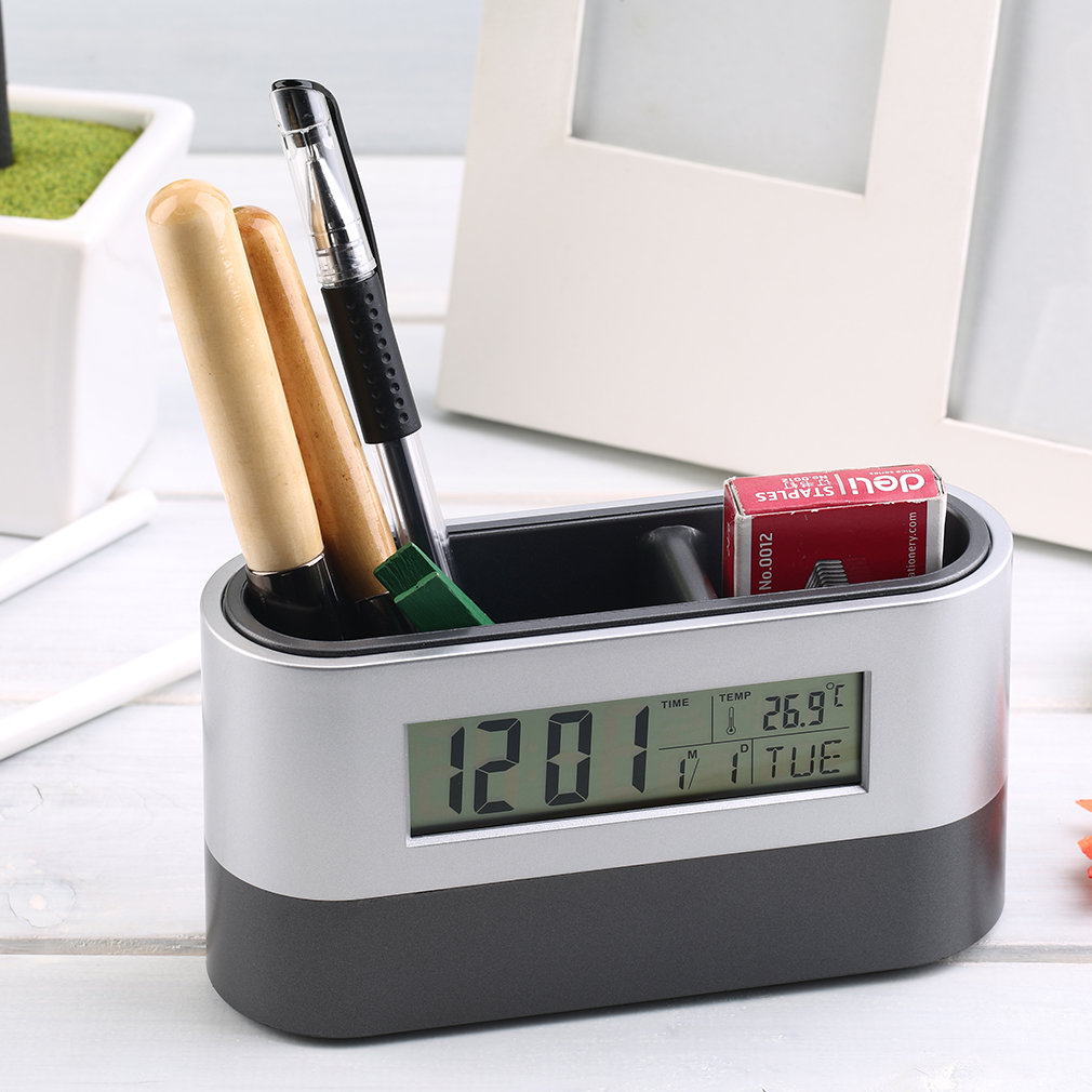 Multifunctional Home Office Digital Snooze Alarm Clock Pen Holder Calendar Temperature Display Black Blue