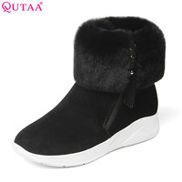 QUTAA 2018 Women Snow Ankle Boots Wedges Heel Zipper Cow Suede Fashion All Match Keep Warm