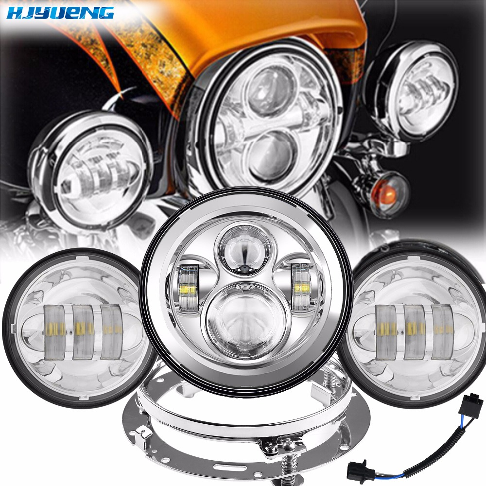 45W 7LED Daymaker Headlamp Headlight For Harley Davidson Motorcycle Auxiliary Passing Light For Harley Road King Harley Touring for harley moto harley davidson softail touring 7 led headlight 75w light drl hight power with 4 5 passing fog light lamp