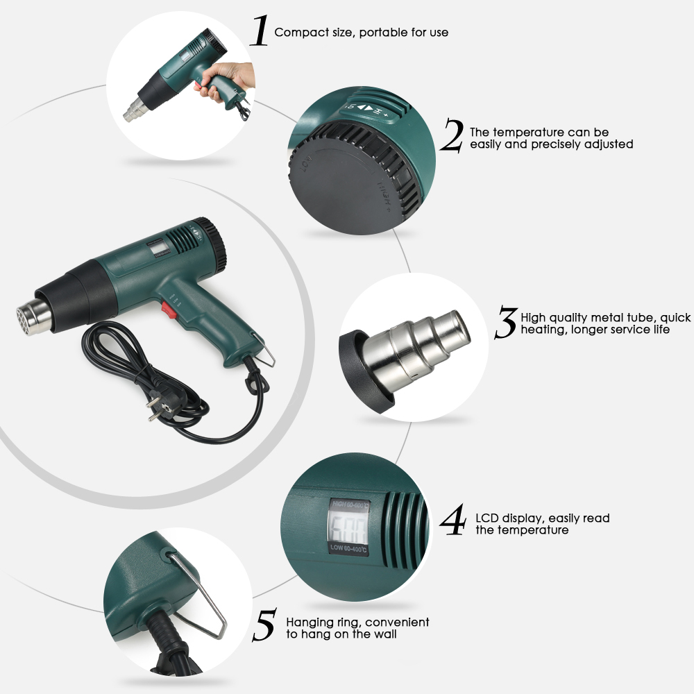 Image 5 - Digital Hot Air Gun Temperature controlled Heat Gun Hair dryer Soldering hairdryer Gun build tool  with 4pcs Nozzle 1800W AC220V-in Heat Guns from Tools on