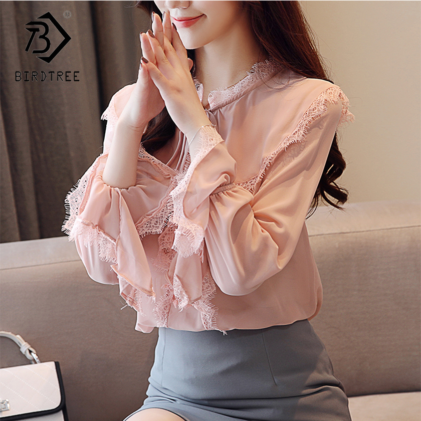 Strict Dingaozlz New Long Sleeve Casual Lace Blouse Ruffles Collar Crochet Women Tops Floral Hollow Out Lady Shirt Clients First Women's Clothing