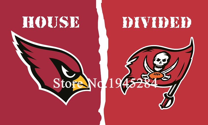 NFL Arizona Cardinals Tampa Bay Buccaneers House Divided Flag 3x5ft 150x90cm Polyester Flag Banner, free shipping