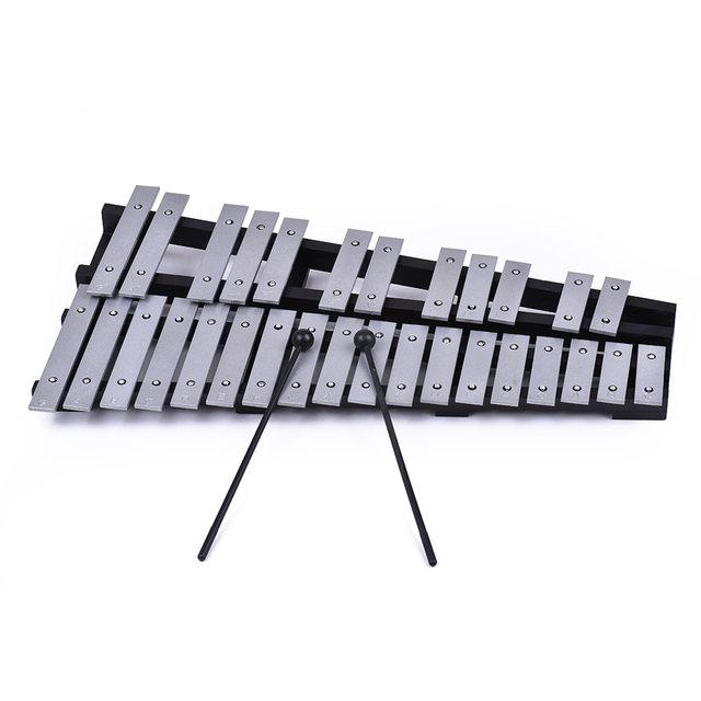 Foldable 30 Note Glockenspiel Xylophone Wooden Frame Aluminum Bars Educational Percussion Musical Instrument with Carrying Bag