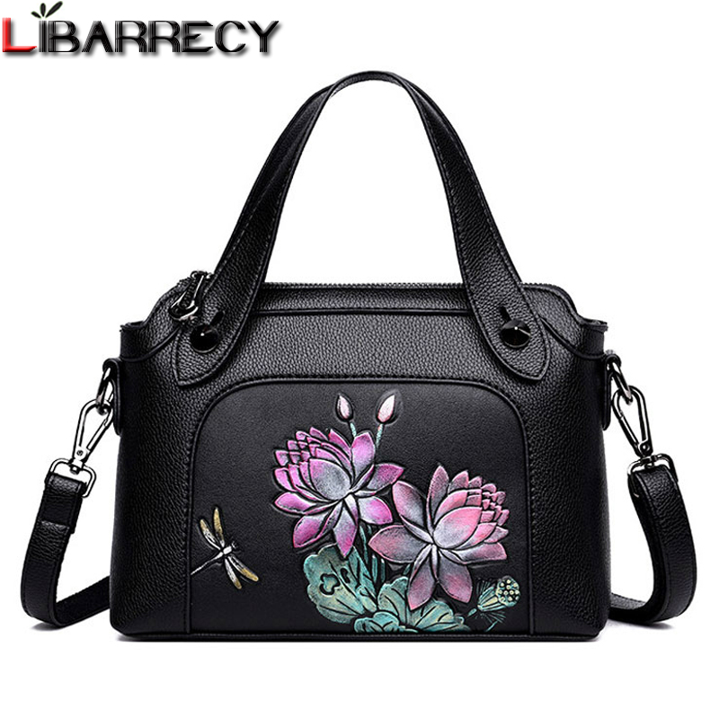 Fashion Flower Printing Women's Handbags Luxury Brand Leather Tote Chinese National Style Shoulder Bag for Women 2018 Sac A Main