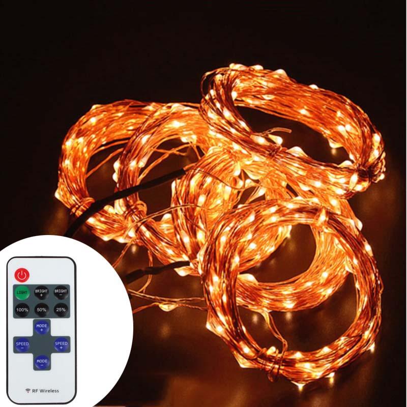ФОТО 1 Ser 5 X 10M 100  Led String LightsLed Starry Lights Copper Wire String Lights + Power Adapter + RF Wireless Control