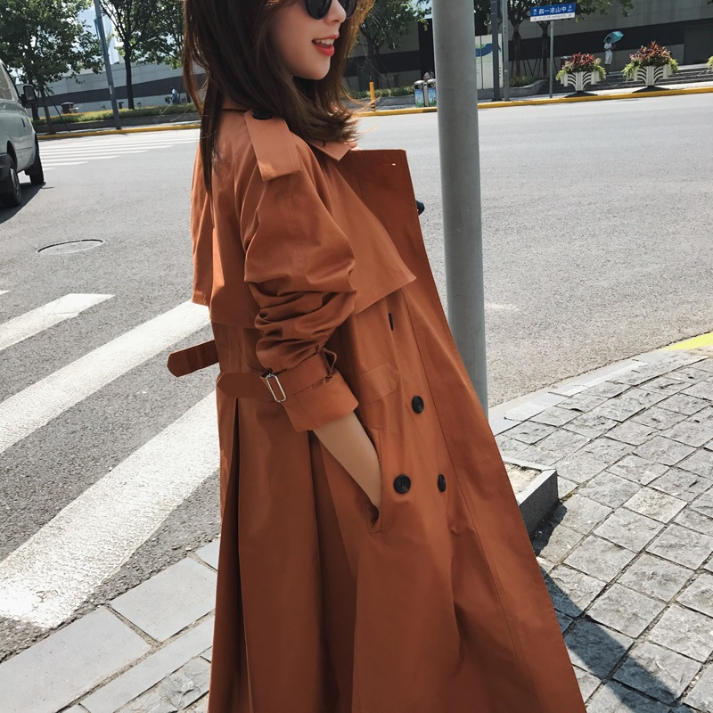 2018 Early Spring Women's Clothes Long Trench Coat Stylish Double Breasted Loose Coat Slim Waist All-match Outerwear