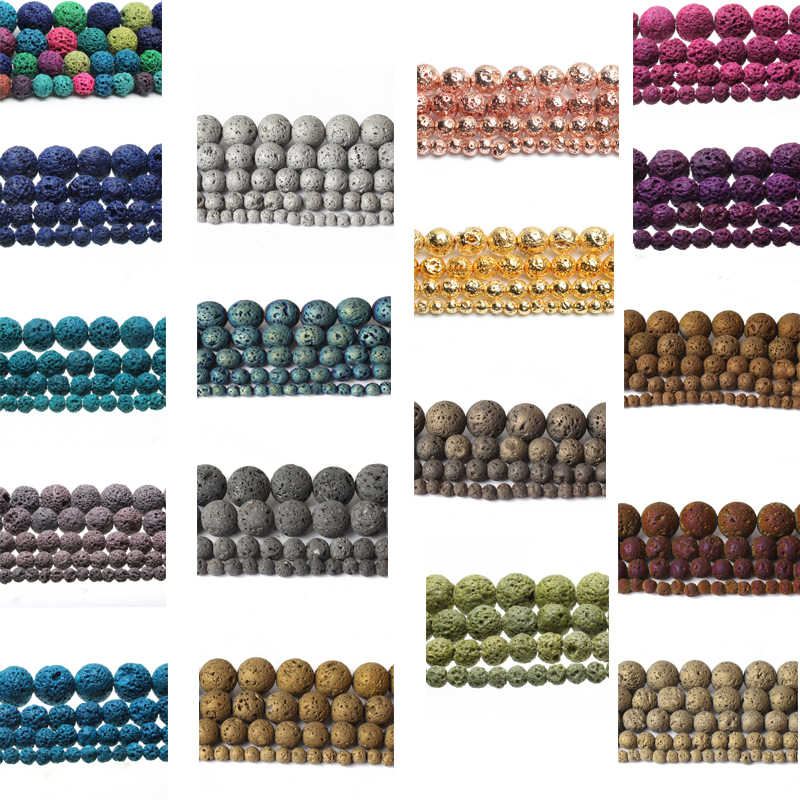Natural Lava Stone Multicolor Volcanic Rock Round Loose Beads for Jewelry Making 4/6/8/10/12 MM 15'' DIY Necklace Bracelet