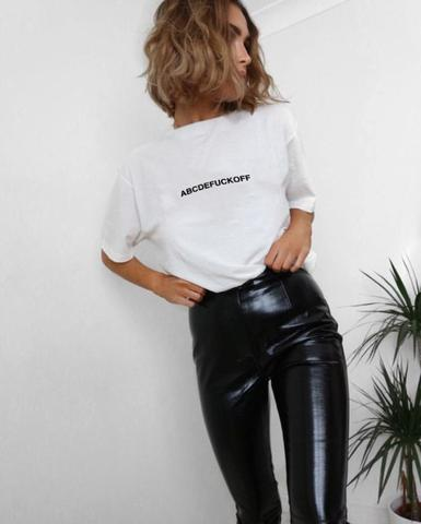 Abcdefuckoff T Shirt Women Men Funny Harajuku T-shirt Girl 90s Tumblr Clothes Popular Aesthetic Tops Tee Shirt Summer T Shirts Complete In Specifications Women's Clothing