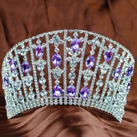 New Women Tiara Diadem Handmade Brides Crown Purple Clear Crystal Rhinestones Bridal Wedding Headband Prom Party High Quality