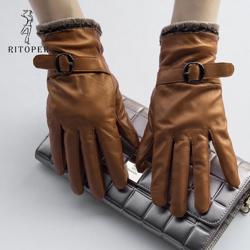RITOPER Genuine Leather 100% Pure Sheepskin Women Sheepskin Gloves Full Finger Winter Thicken Coral Fleece Warm Outdoors Mittens