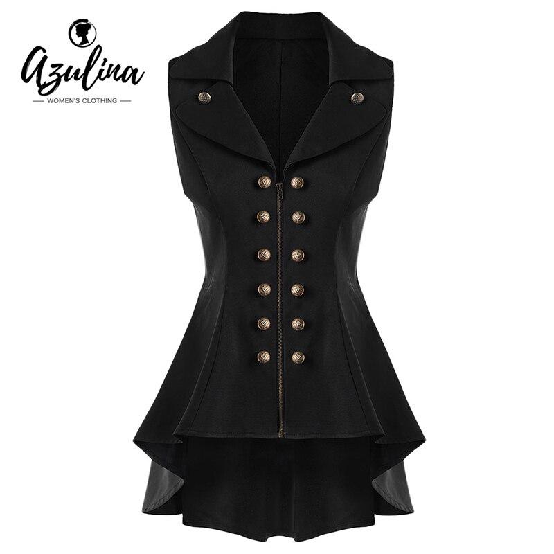 AZULINA Long Vest Coat Women Sleeveless Lapel High Low Dressy Waistcoat Solid Cardigan Vest Jacket Ladies Office Coat colete